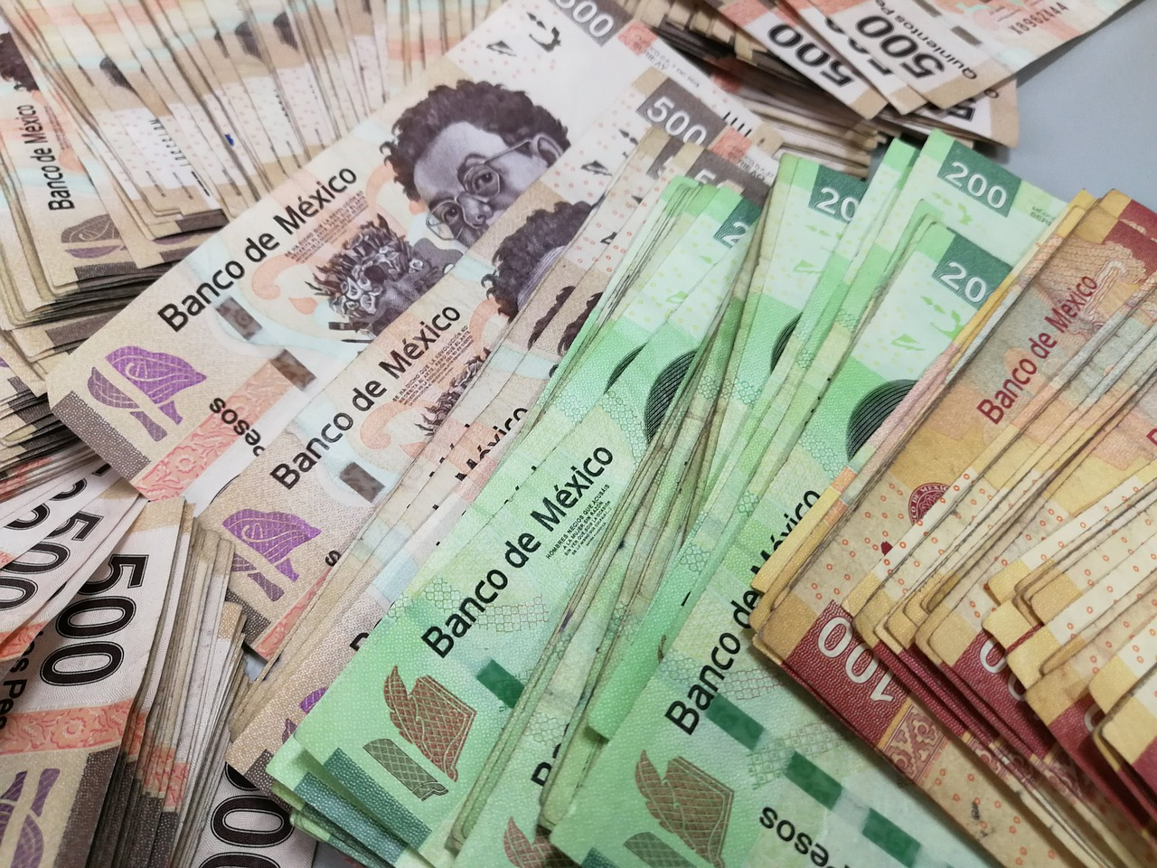 Money Cash Wealth Tickets Weights Bank Mexico